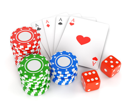 Pile of gambling chips, playing cards and two dices isolated on white background. Casino games, luck and winning concept. photo