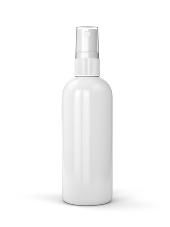 White container of spray bottle isolated on white background