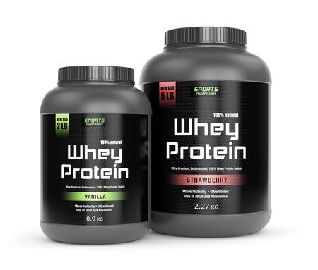 Sportvoeding, bodybuilding supplementen: twee potten van vanille en aardbei op smaak wei-eiwit geïsoleerd op wit. Stockfoto