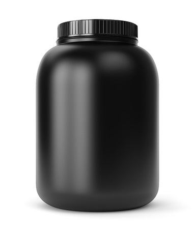 bodybuilder: Bodybuilding supplements: can of protein or gainer powder isolated on white