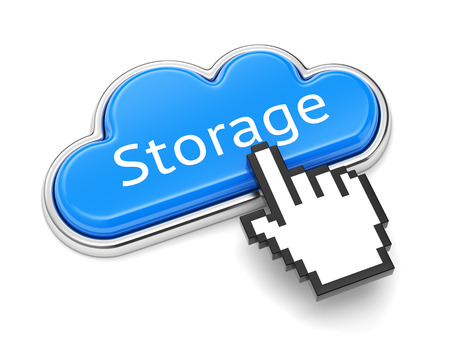 data synchronization: Cloud computing technology, online storage service and security concept. Button with text Storage and computer mouse cursor isolated on white background.