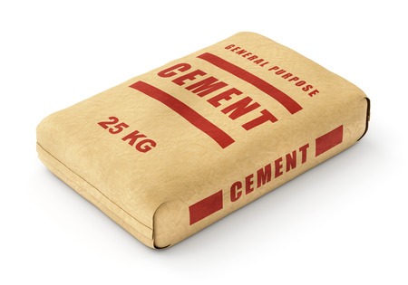 Cement bag. Paper sack isolated on white background. Stock Photo