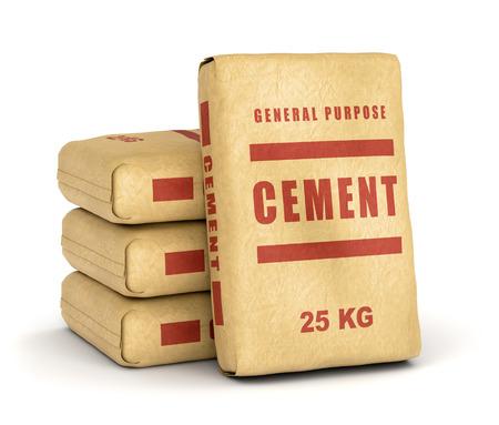 Cement zakken. Papieren zakken op een witte achtergrond.