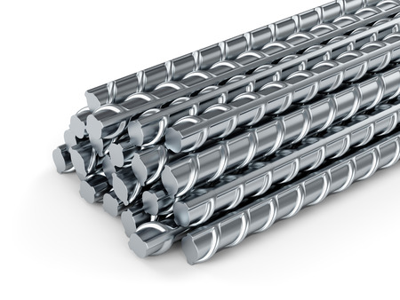 Reinforcing steel bars. Building armature on white background.