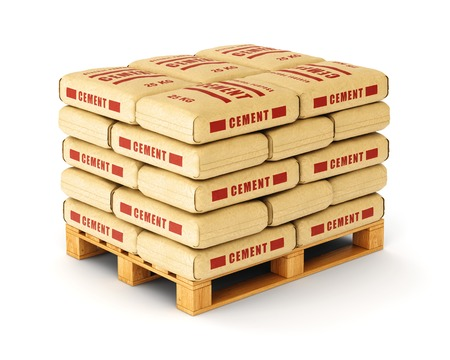 Cement bags stack on wooden pallet. Paper sacks isolated on white background. Stockfoto