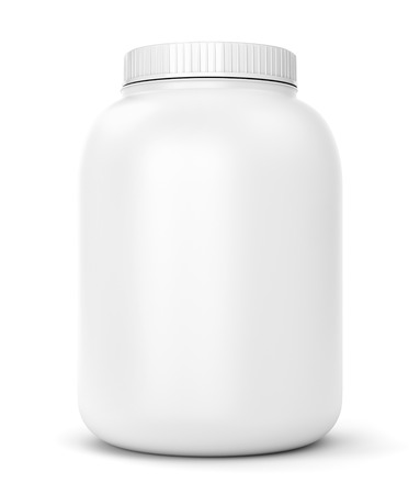 Bodybuilding supplements: can of protein or gainer powder isolated on white background Stockfoto