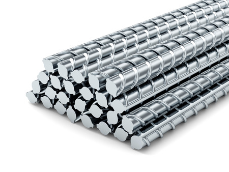 white bars: Reinforcing steel bars. Building armature on white background.