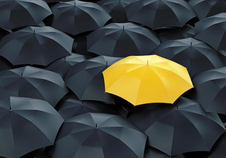 개념: 많은 어두운 것들 중 독특한 노란 우산. 군중, 개성과 차이의 개념에서 밖으로 서.