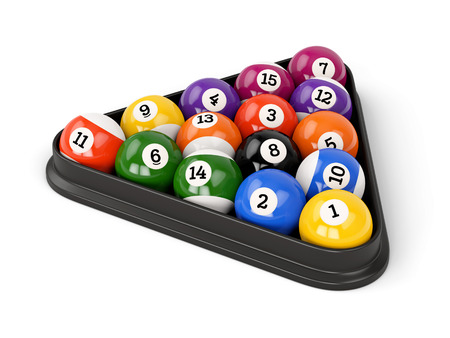 Group of colorful glossy pool game balls with numbers and plastic triangle isolated on white background. Set of pool-balls. Stok Fotoğraf
