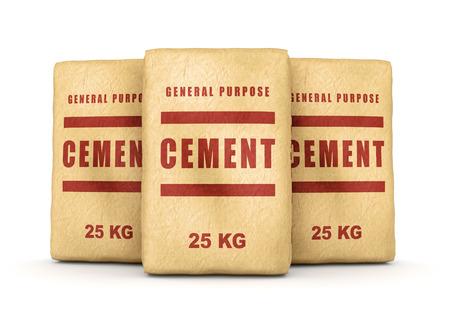 sacs de ciment. Groupe des sacs en papier isolé sur fond blanc. Banque d'images