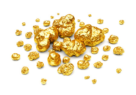 Golden nuggets. Group of gold stones of different size isolated on white background.