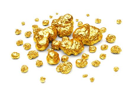 Gouden nuggets. Groep van gouden stenen van verschillende grootte op een witte achtergrond.