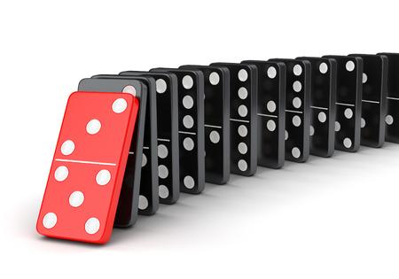 Domino-tegels effect. Raw vallende dominostenen op een witte achtergrond.
