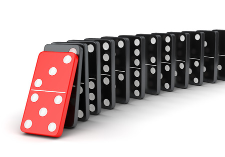 domino effect: Domino tiles effect. Raw of falling dominoes isolated on white background. Stock Photo