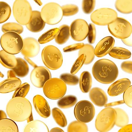 La fabricación del dinero, el éxito del negocio, las finanzas, la riqueza, el casino ganar y el concepto de premio: monedas que caen de oro aislado en el fondo blanco Foto de archivo - 45835403