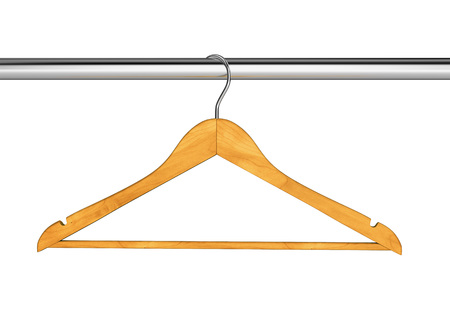 clothes rail: Wood cloth hanger on clothes rail