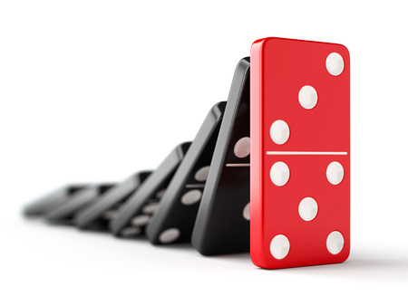 chain reaction: Unique red domino tile stops falling black dominoes. Leadership, teamwork and business strategy concept.