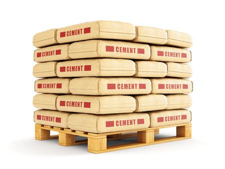 cemento: Bolsas de cemento se apilan sobre palets de madera. Sacos de papel aislados sobre fondo blanco. Foto de archivo