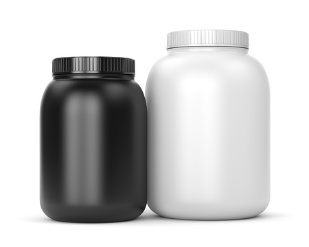 Bodybuilding supplements: cans of protein or gainer powder isolated on white background