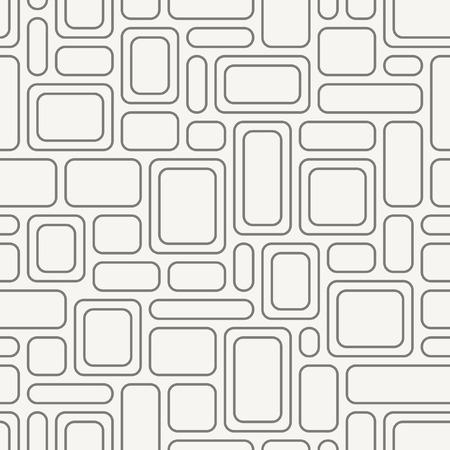 Naadloze geometrische patroon. Uitstekende stof textuur met grijze afgeronde rechthoeken. Vector achtergrond.