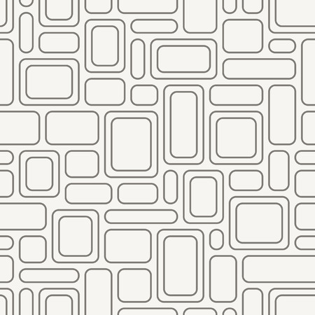 Seamless geometric pattern. Vintage fabric texture with gray rounded rectangles. Vector background.