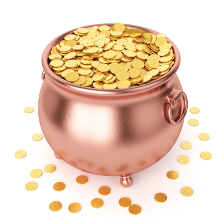 golden pot: St Patricks day celebration concept. Copper pot with gold coins isolated on white background.