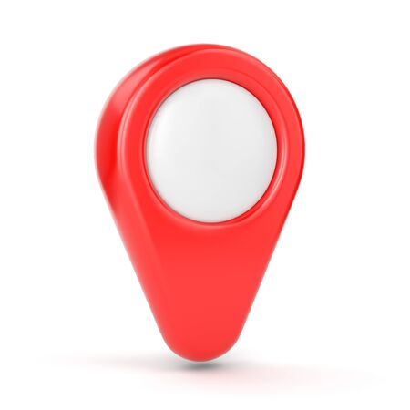 map pin: GPS map pointer. Red location symbol isolated on white background.