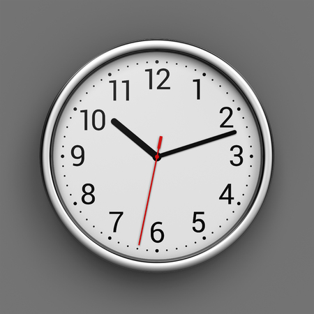 time clock: Metal office clock with numbers on gray wall