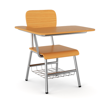 School desk with chair isolated on white background
