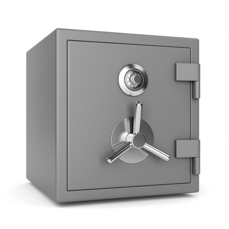 dial lock: Closed metal bank security safe with dial code lock isolated on white background Stock Photo