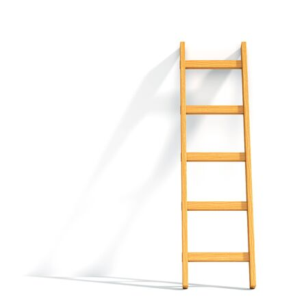 staircase: Wooden ladder leaned against white wall isolated. 3D illustration
