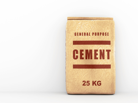 cemento: bolsa de cemento: bolsa de papel sobre la pared blanca. ilustración 3D