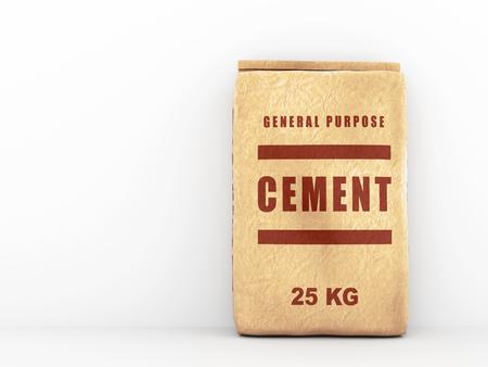 Cement zak: papieren zak over witte muur. 3D illustratie Stockfoto