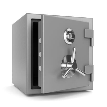 safe lock: Open metal bank security safe with dial code lock isolated on white background. 3D illustration