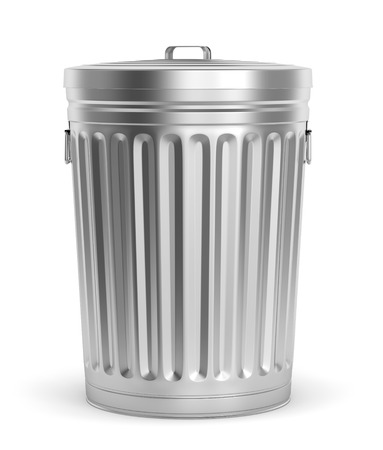 scrapheap: Steel trash can with lid isolated on white background. 3D illustration