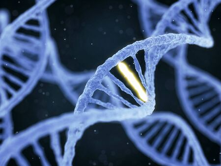 special individual: DNA molecule spiral structure with unique connection on abstract dark background. Genetics, GMO and biotechnology concept. 3D illustration