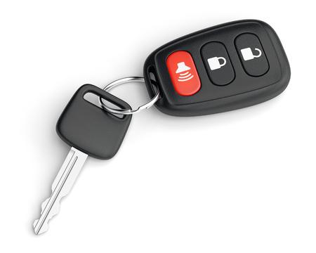 Auto sleutel met draadloze afstandsbediening trinket en sleutelhanger op een witte achtergrond. 3D illustratie