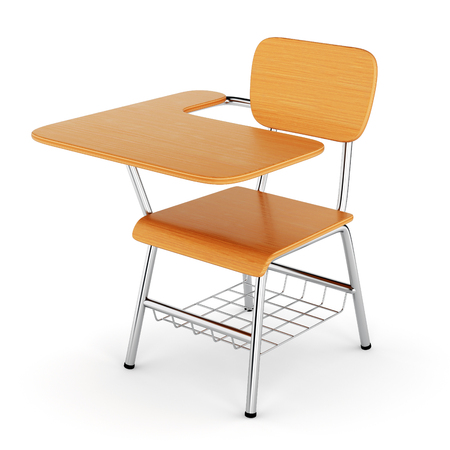 isolated chair: School desk with chair isolated on white background. 3D illustration Stock Photo