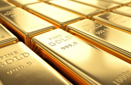 wealth concept: Gold bars stack. Financial success, business investment and wealth concept. 3D illustration
