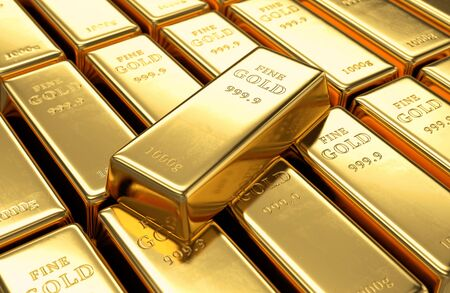 wealth concept: Gold bars stack and single ingot above. Financial success, business investment and wealth concept. 3D illustration