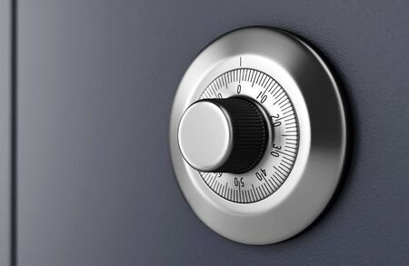 safe lock: Safe door with code dial. Close-up of combination lock. Security concept.  3D illustration