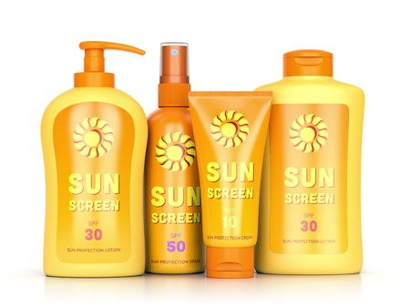 sunscreen: Sunscreen set: sun protection cream, lotion and spray in bottles and tube containers isolated on white background. Summer leisure and sun tanning concept. 3D illustration Stock Photo