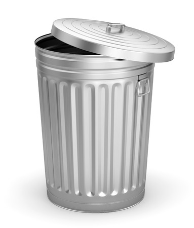 Open steel trash can isolated on white background. 3D illustration Stock Photo