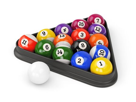 pool game: Group of colorful glossy pool game balls with numbers and plastic triangle isolated on white background. Set of pool-balls. 3D illustration Stock Photo
