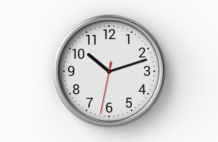 office clock: Metal office clock with numbers on white wall. 3D illustration