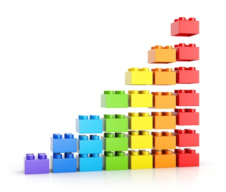 assembling: Growth graph diagram. Assembling colorful toy building blocks isolated on white background. 3D illustration