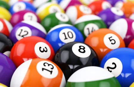pool game: Group of retro colorful glossy pool game balls with numbers. Defocused background. 3D illustration