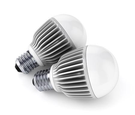 e27: Two LED energy saving bulbs isolated on white background. 3D illustration