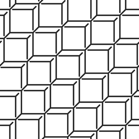 geometric lines: Geometric monochrome seamless vector pattern. Endless black and white isometric texture. Abstract wallpaper with cubes and squares on white background. Illustration