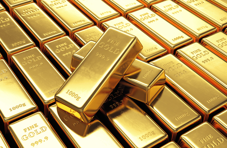 wealth concept: Group of gold bars with two ingots on top. Financial success, business investment and wealth concept. 3D illustration